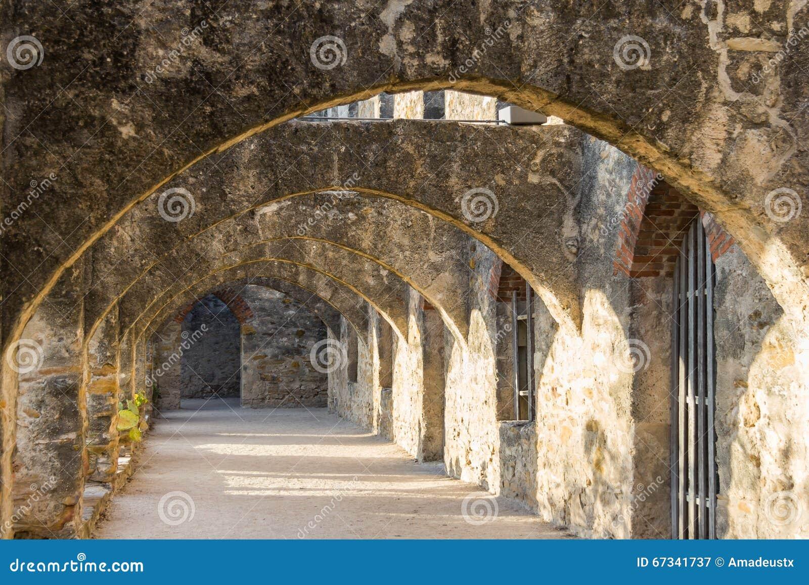 Fördärvar av Convento och bågar av beskickningen San Jose i San Antonio, Texas