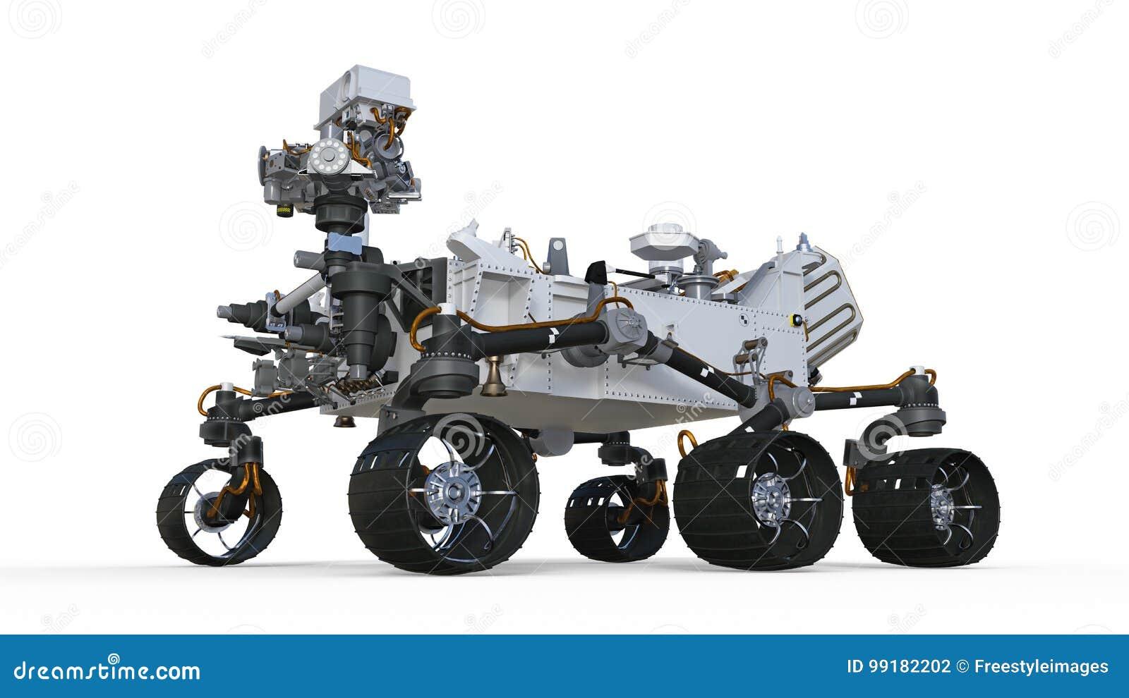 Fördärvar Rover, det robotic autonoma medlet som isoleras på vit bakgrund, illustrationen 3D