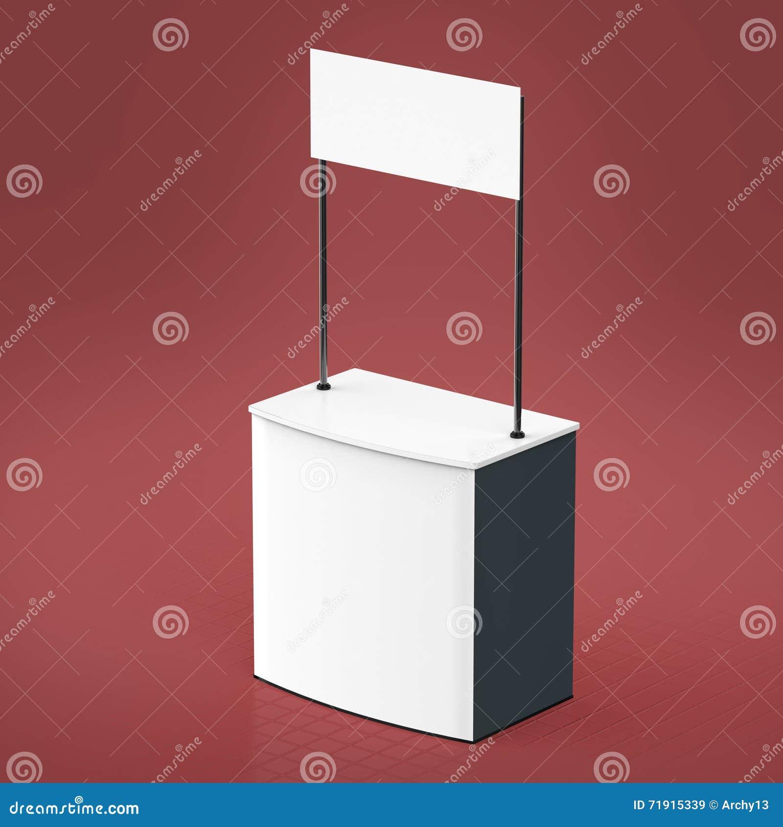 Förderungszähler, Einzelhandel-Stand lokalisiert auf dem weißen Hintergrund Modell-Schablone für Ihr Design render