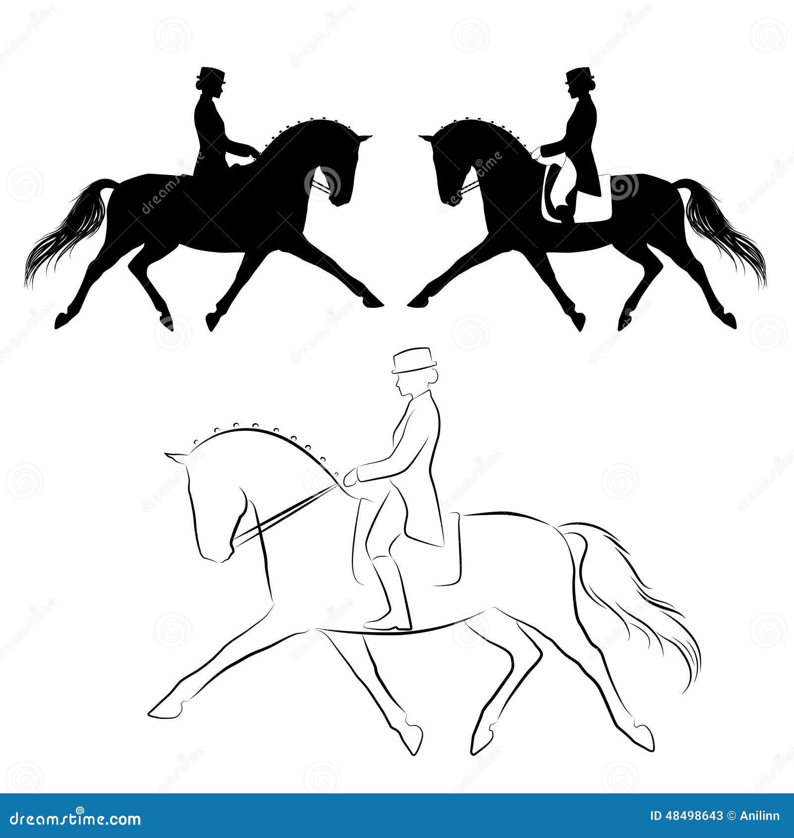 Kleurplaten Paarden Dressuur F 246 Rdjupad Trav F 246 R Dressyr H 228 St Vektor Illustrationer