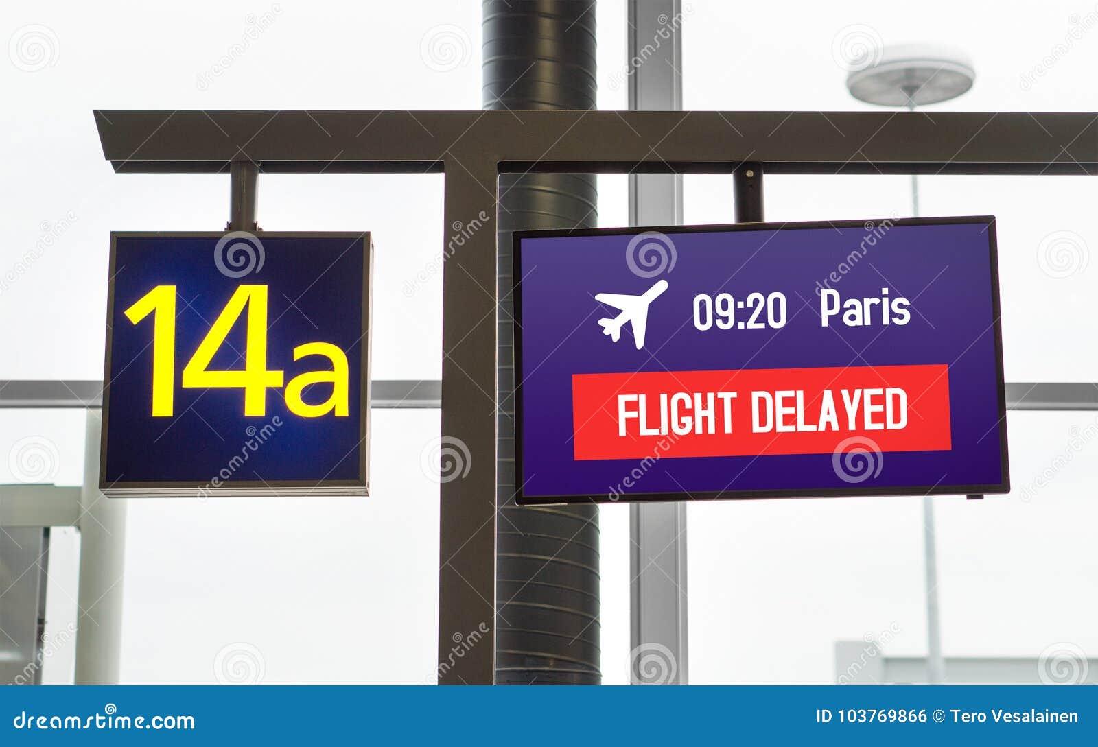 Fördröjnintt flyg Information på bildskärm på en port