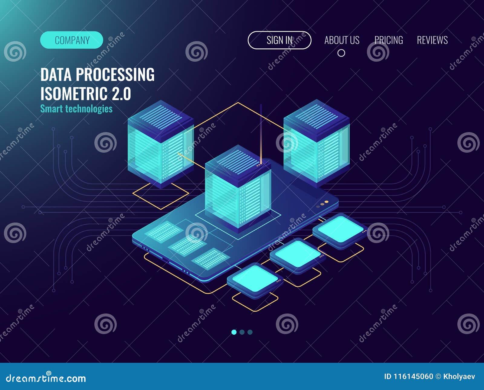 Fördunkla begreppet för datalagring med mobiltelefon- och databassymbolen, information om datacenter som bearbetar, reserv- kopia