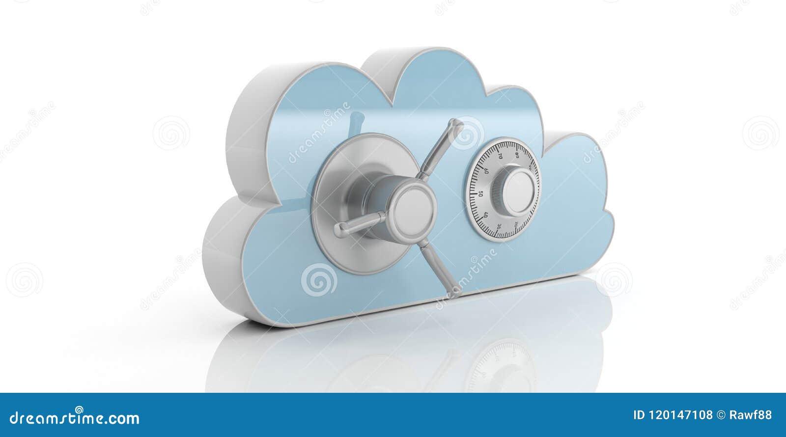 Fördunkla det säkra låset för kombinationen för datadatoren, isolerat, cyan på en vit bakgrund illustration 3d