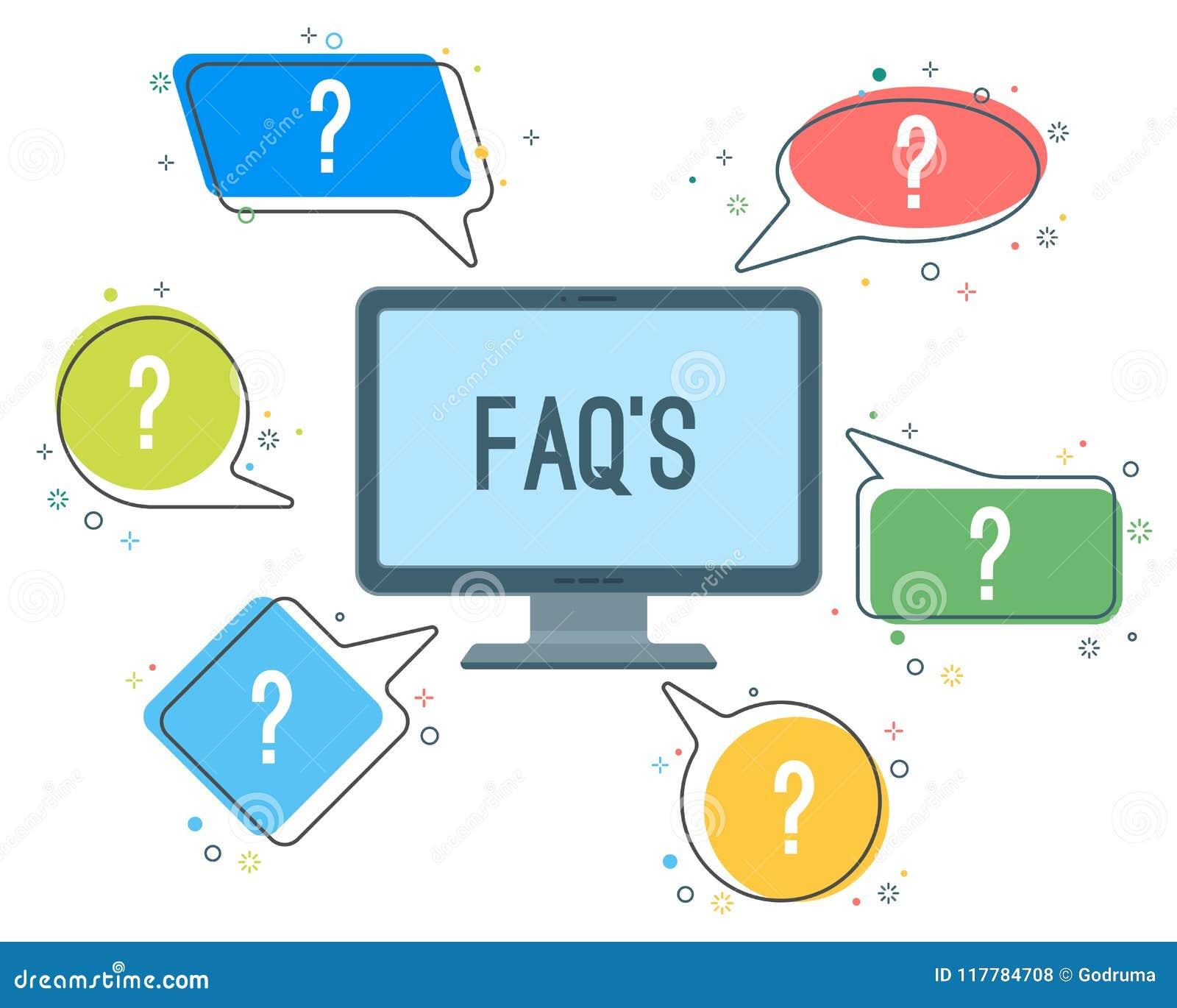 Fördunklar tjänste- minimalistic symboler för FAQ med frågefläckar i anförande