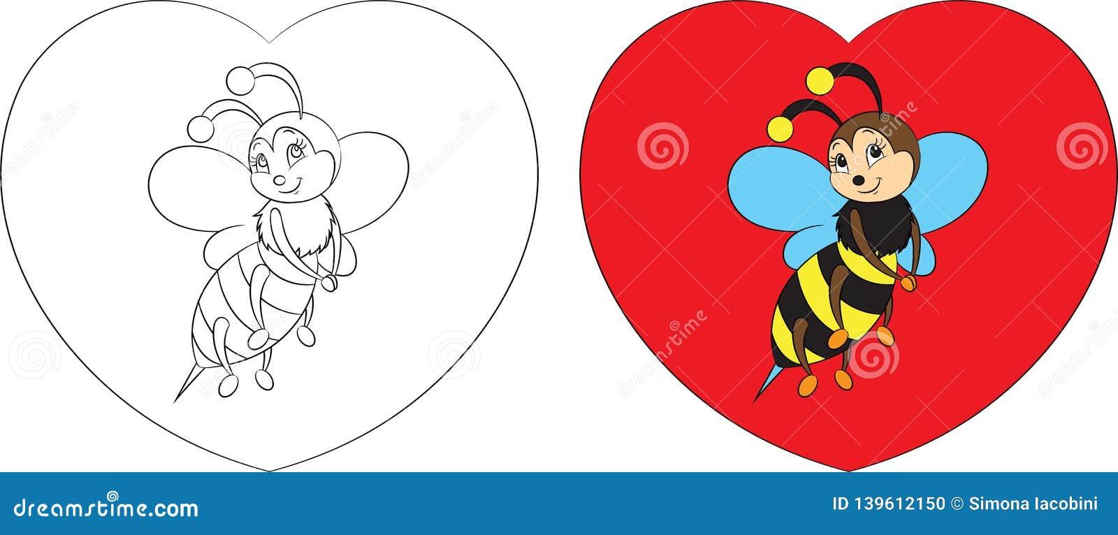 Före och efter färg- och konturkawaiiteckning av lite biet på en hjärta för barns kort för dag för färga bok eller valentin