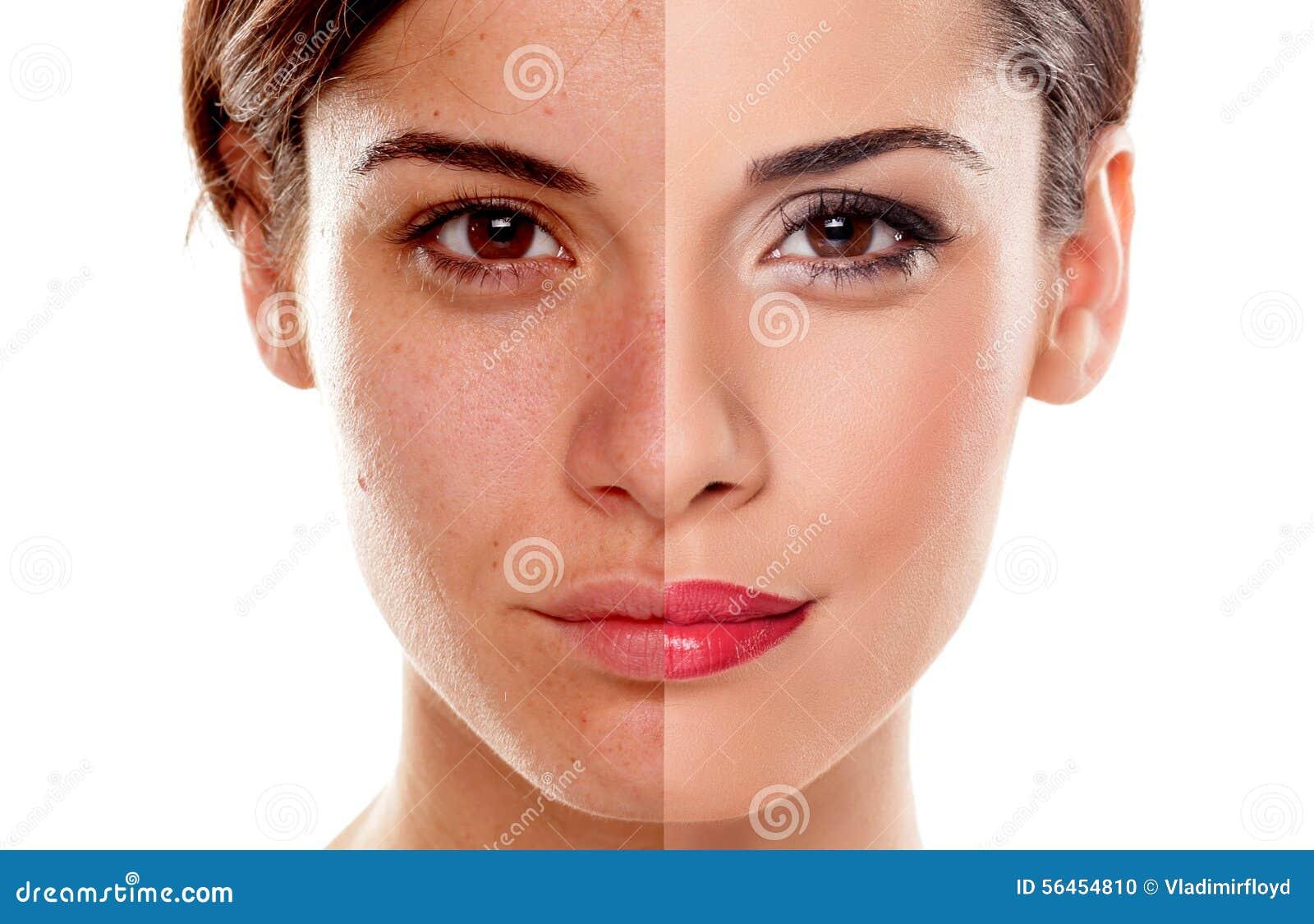 Före och efter makeup