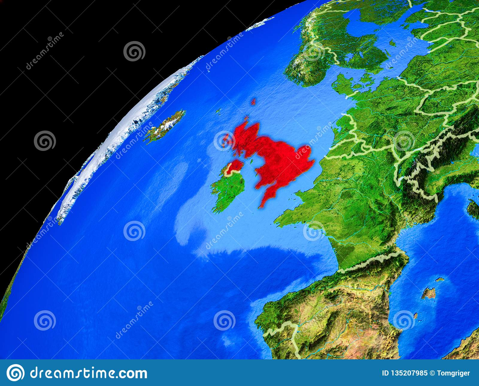 Förenade kungariket på jord från utrymme
