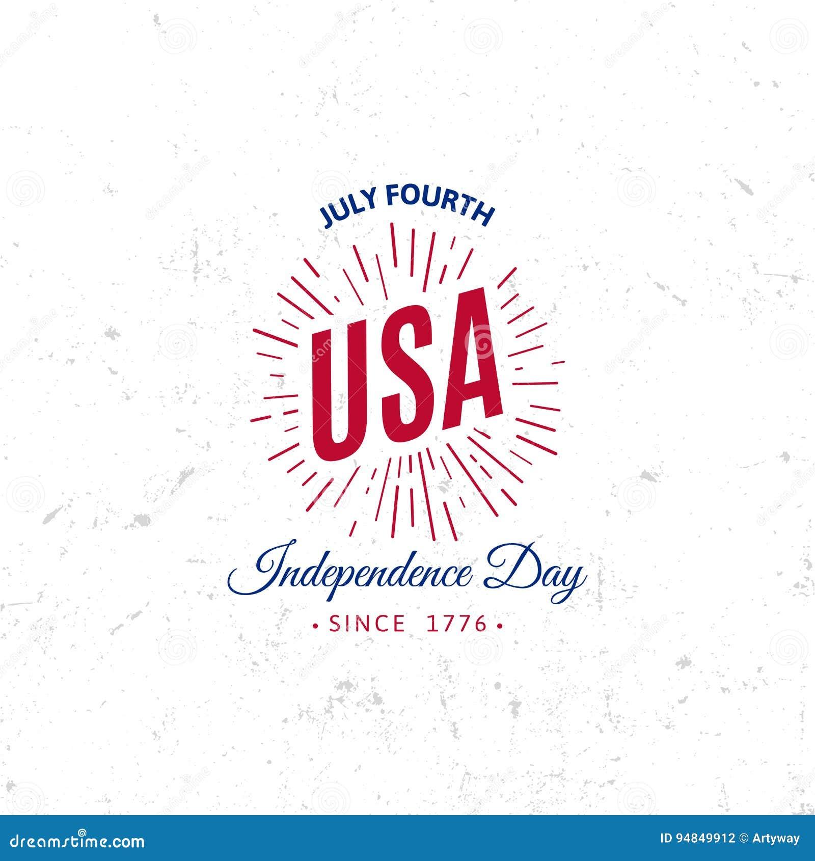 Förenta staterna av Nordamerika vektorLogo Vintage enkel stil Symbol för nationell ferie för självständighetsdagen blå red