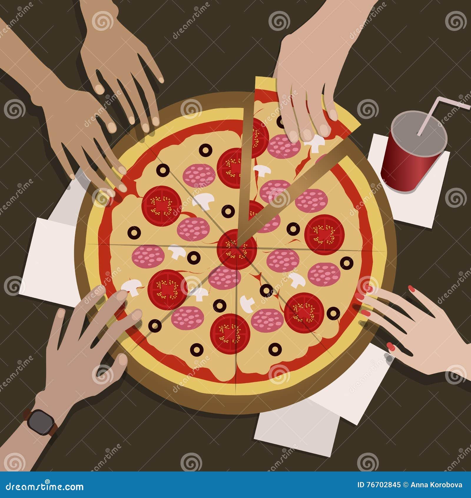 Företaget av vänner äter pizza