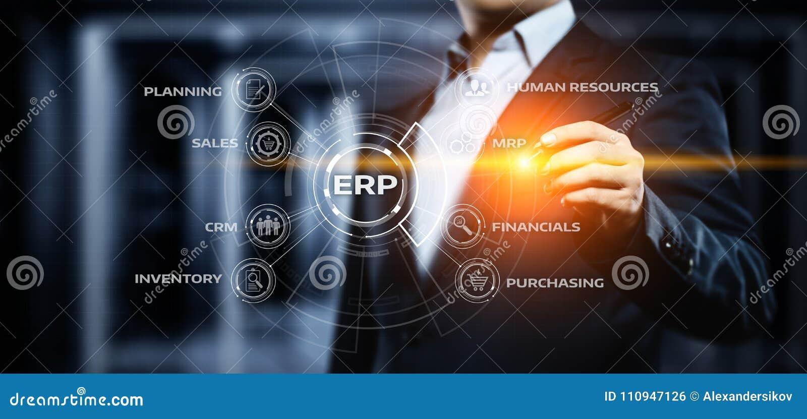 Företagresurs som planerar för företagsdirektionaffär för ERP företags begrepp för teknologi för internet