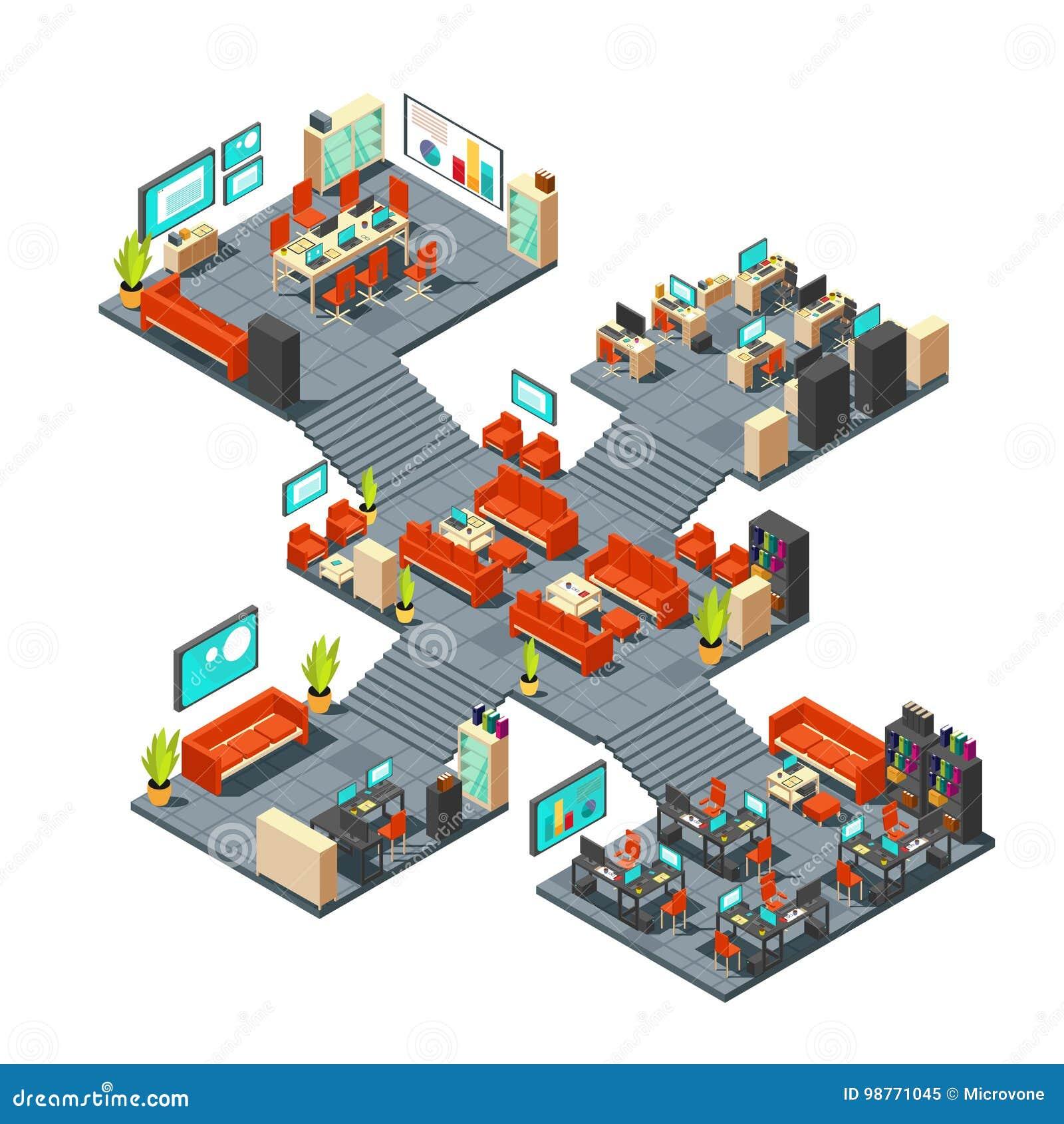 Företags kontor för professionell 3d Den isometriska affärsmitten däckar den inre vektorillustrationen