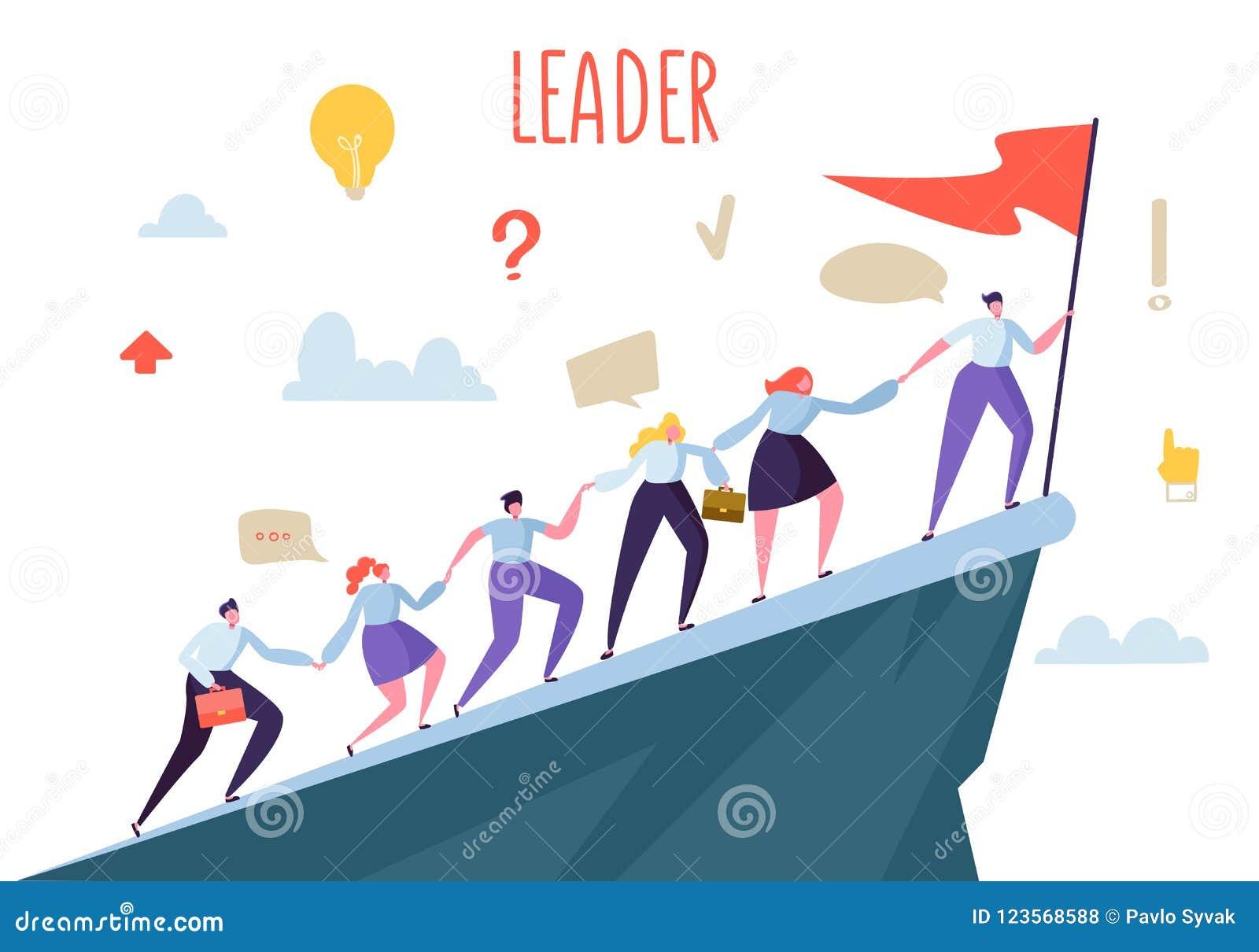 Företagsledare Concept Plana folktecken som klättrar överkantmaximumet Teamwork och ledarskap, affärsman med flaggan