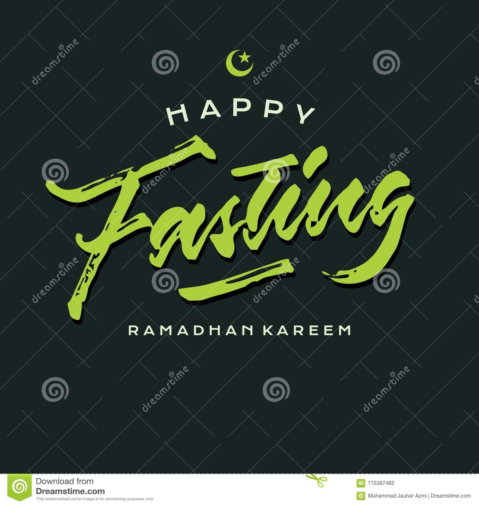 Förgrovar ramadhan kareem för den lyckliga fastan affischen för kortet för hälsningen för borstebokstävertypografi