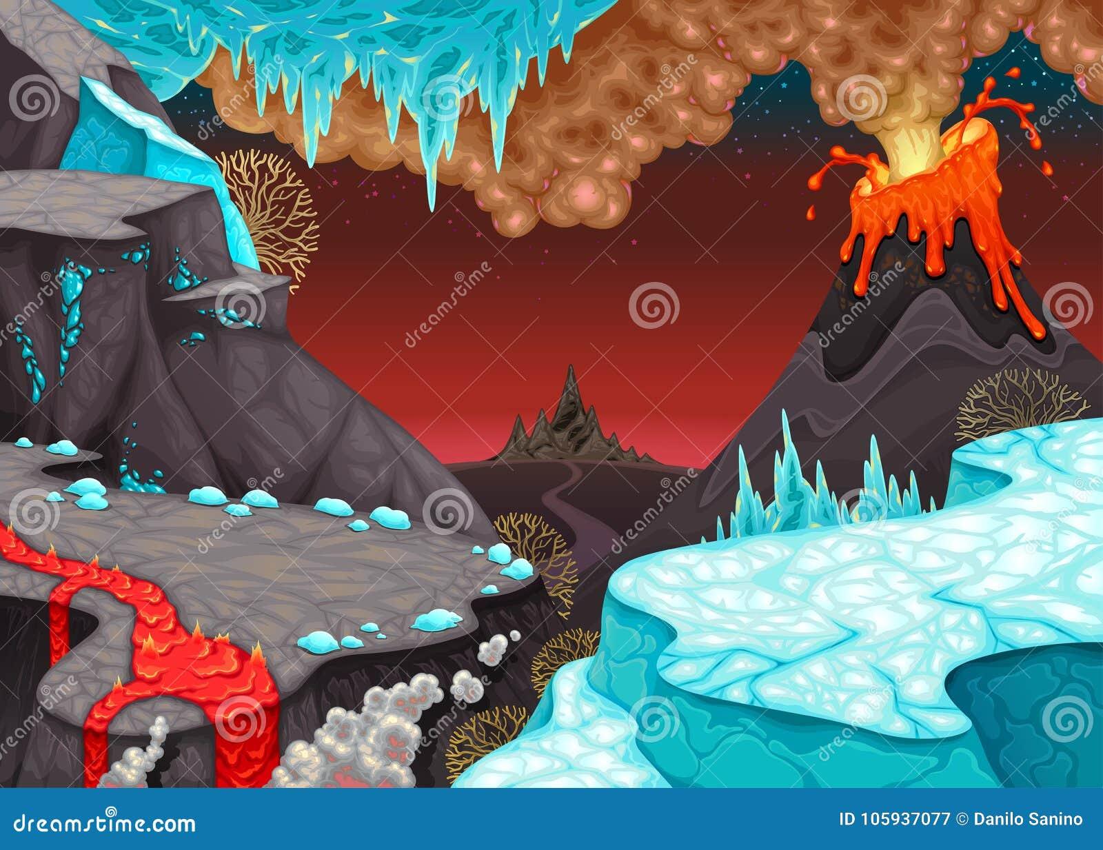 Förhistoriskt landskap med brand och is