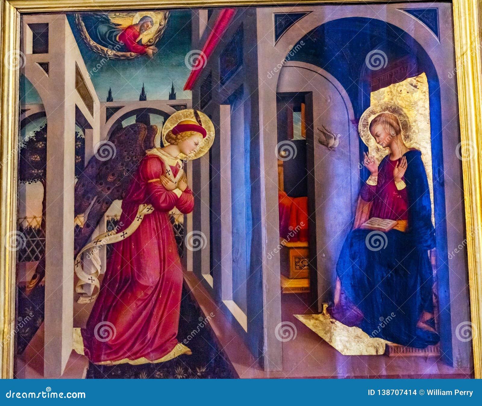 FörklaringAngel Mary Painting Santa Maria Novella kyrka Florence Italy