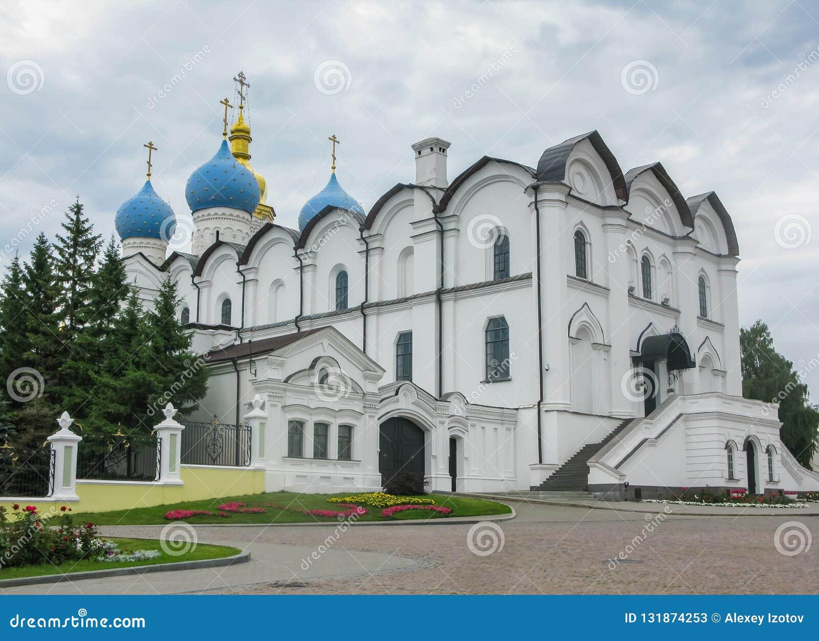 Förklaringdomkyrkan av den Kazan Kreml är den första ortodoxa kyrkan av den Kazan Kreml