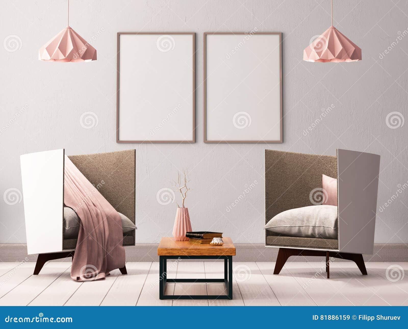 Förlöjliga upp affischen i inre av en vardagsrum med fåtöljer och lampor 3d illustrationen 3d framför