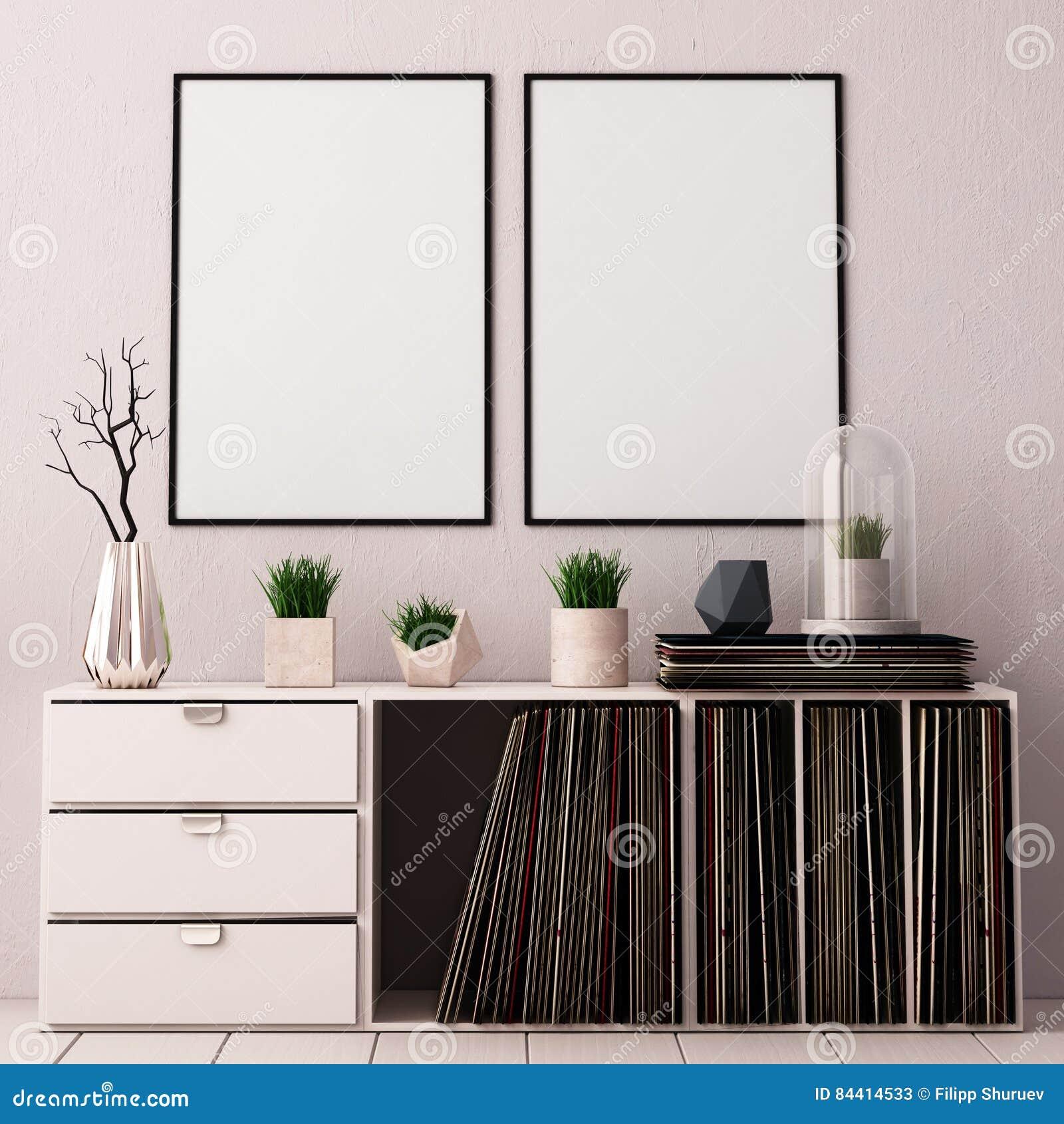 Förlöjliga upp affischen i inre av vardagsrummet med boxning för vinylLPs hipstertrendstil 3D tolkning, illustration 3D