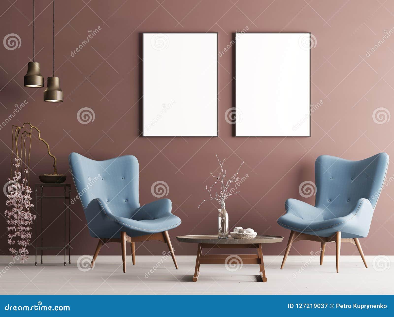 Förlöjliga upp affischen i pastellfärgad modern inre med den burgundy väggen, mjuka fåtöljer, växten och lampor