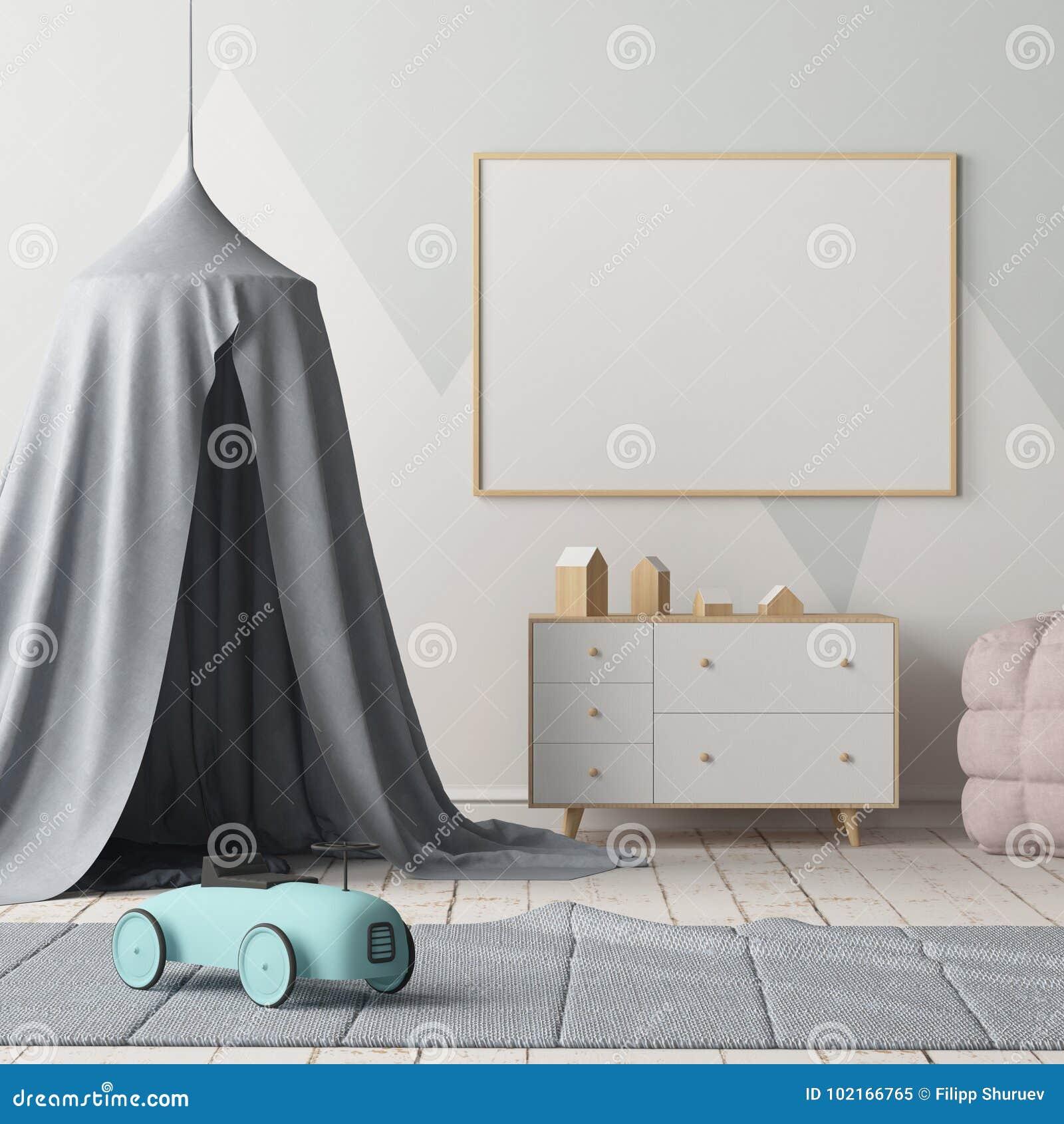 Förlöjliga upp affischen i sovrummet för barn` s med en markis Skandinavisk stil 3d