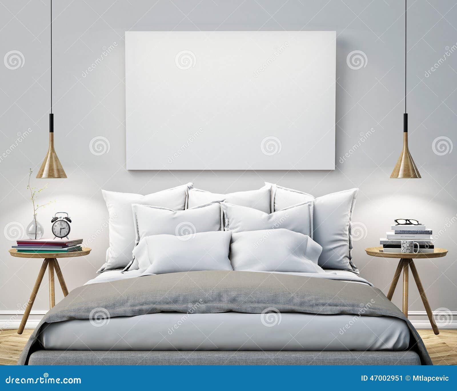 Förlöjliga upp den tomma affischen på väggen av sovrummet, bakgrund för illustration 3D