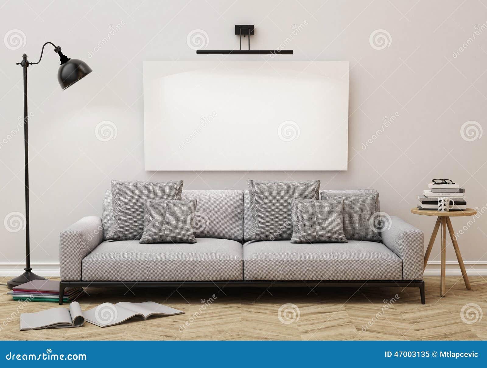 Förlöjliga upp den tomma affischen på väggen av vardagsrum, bakgrund
