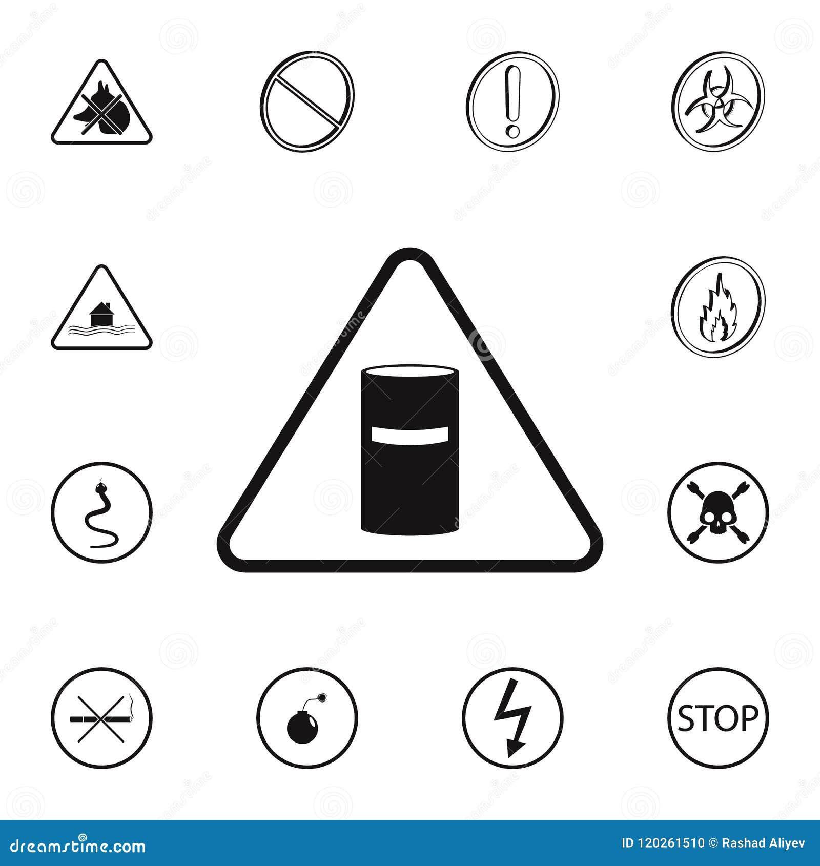Förlorad teckensymbol för kemikalie Detaljerad uppsättning av symboler för varningstecken Högvärdigt kvalitets- tecken för grafis