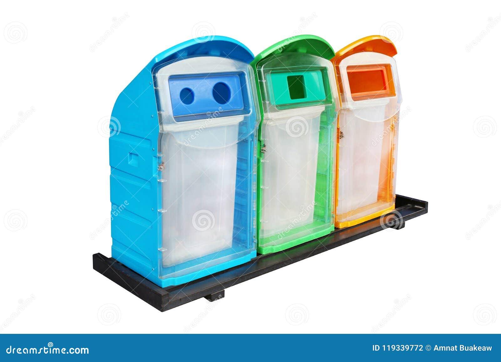 Förlorat fack, färgrika tre återanvänder fackplast-avfalls, mångfärgade avskrädeavfallfack, återvinningfacket, avfalls för avskrä