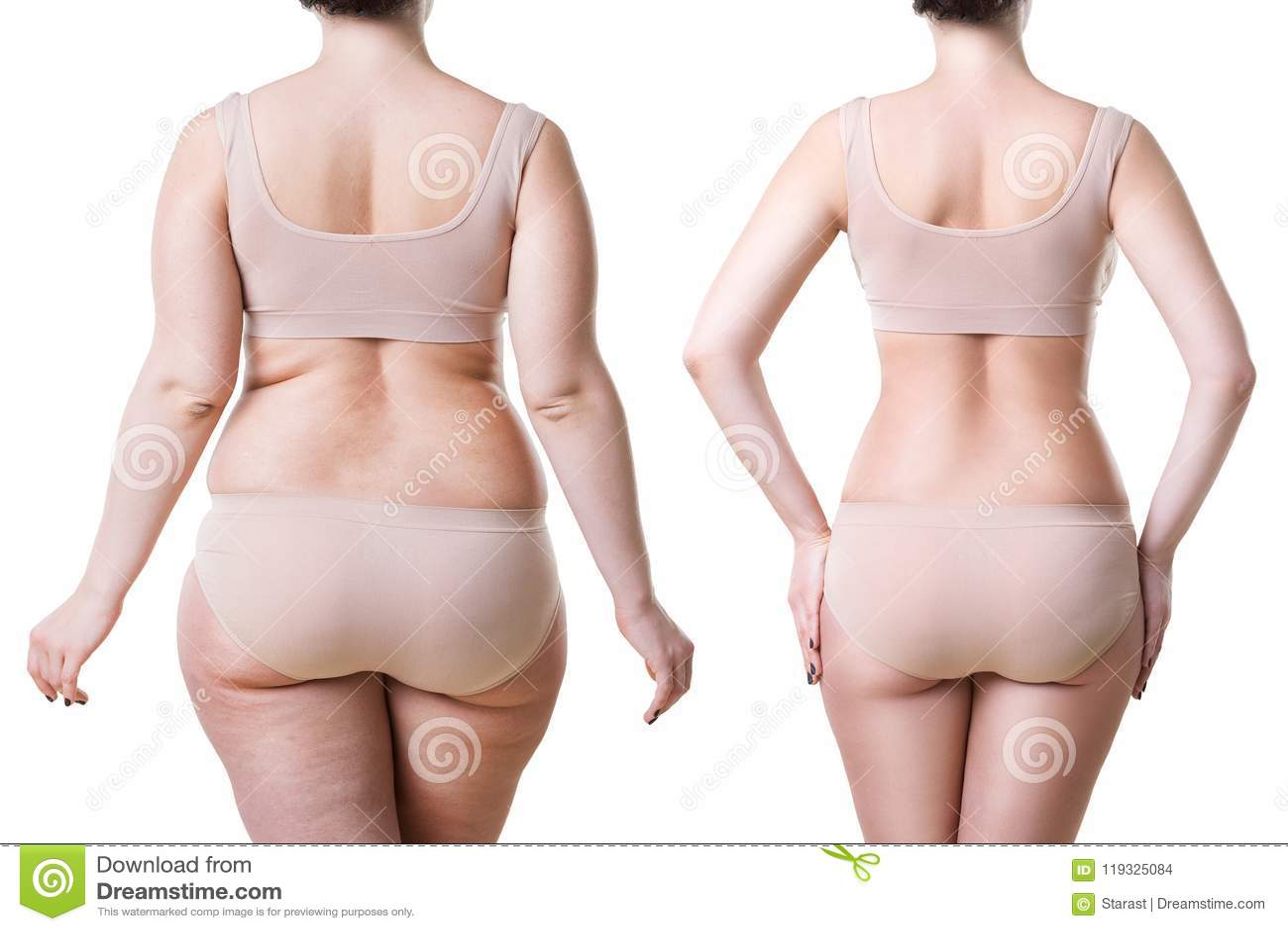 Förlust för vikt för kropp för kvinna` som s före och efter isoleras på vit bakgrund