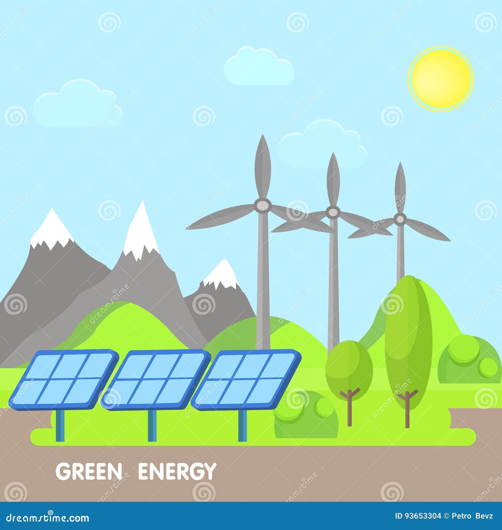 Förnybart ecoenergibegrepp Grönt landskap med träd och berg Vindkraftillustration