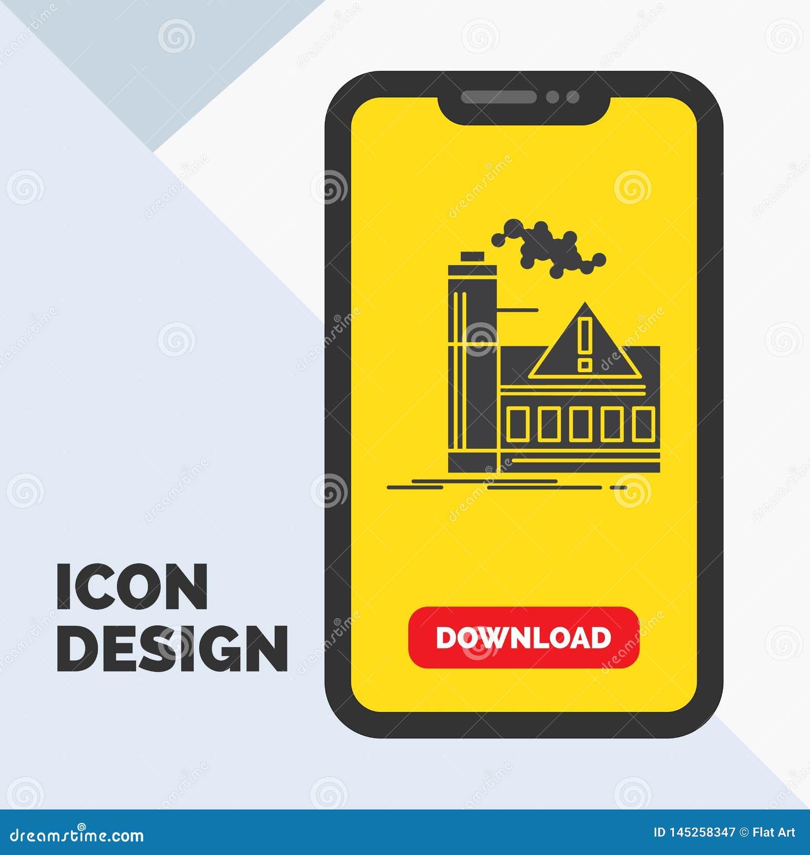 Förorening fabrik, luft, varning, branschskårasymbol i mobilen för nedladdningsida Gul bakgrund
