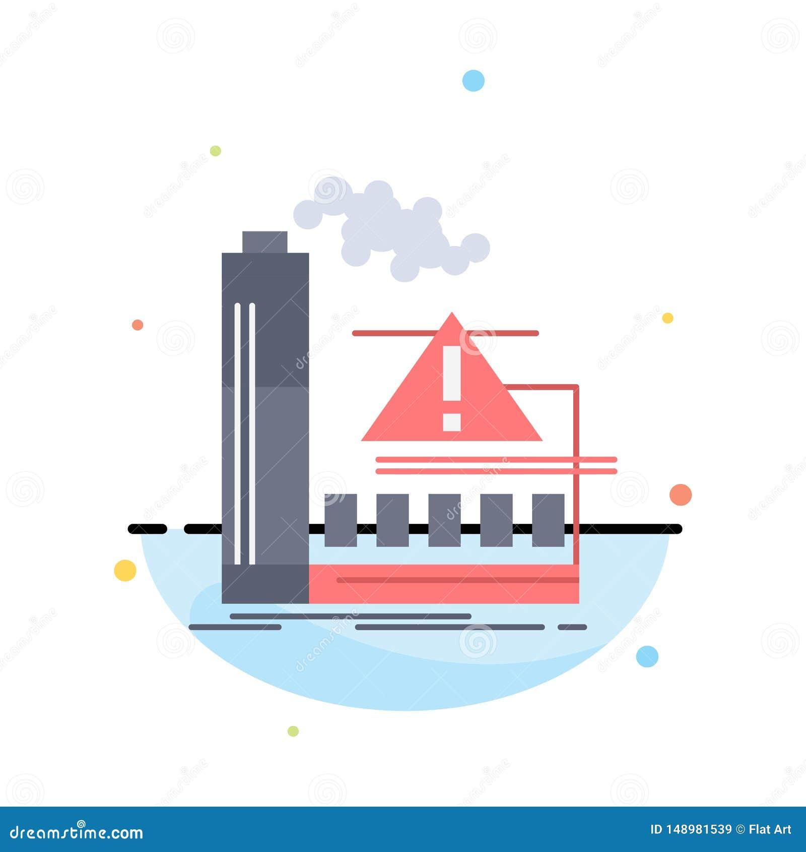 Förorening fabrik, luft, varning, för färgsymbol för bransch plan vektor