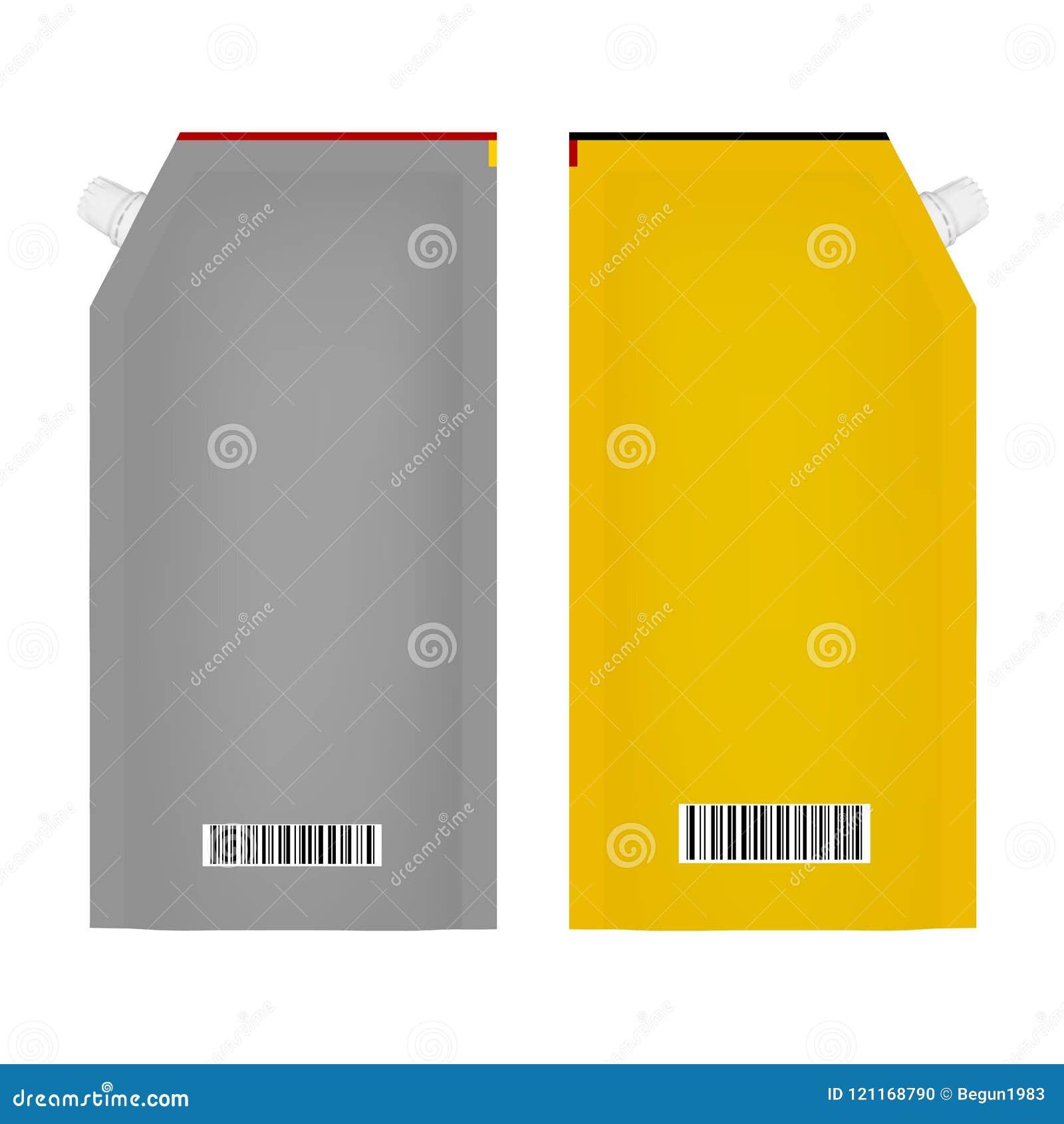Förpacka för ketchup eller majonnäs i vektor på vit bakgrund