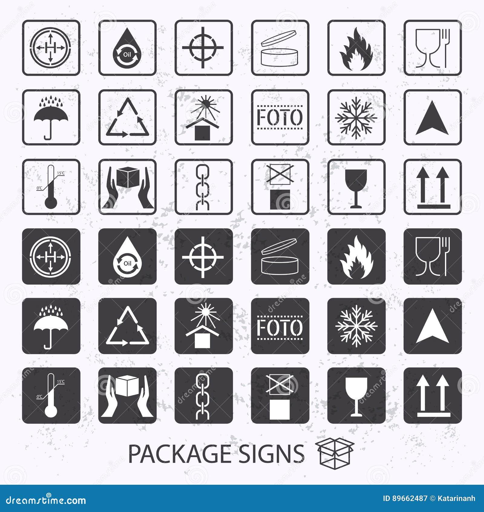 Förpackande symboler för vektor på grungebakgrund Sändningssymbolsuppsättning inklusive återvinning som är bräcklig, hyllalivet a
