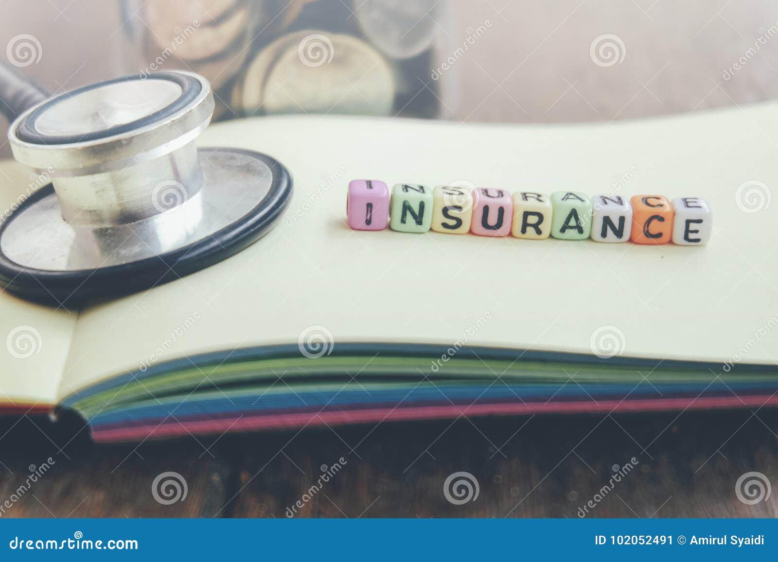 FÖRSÄKRING för kvarter för ord för hälsovårdledningbegrepp på den gula boken över träbakgrund