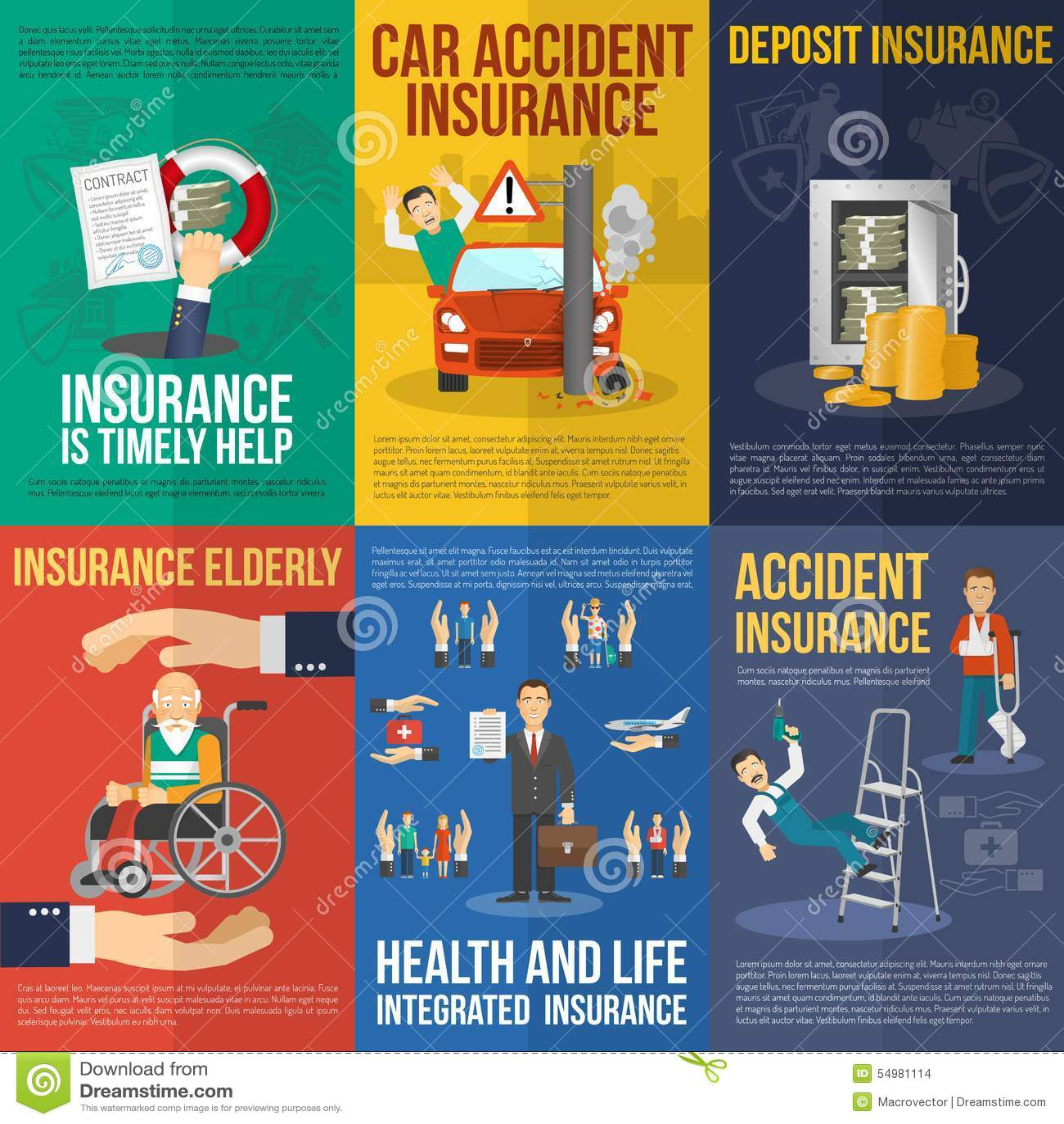 Försäkringaffischuppsättning