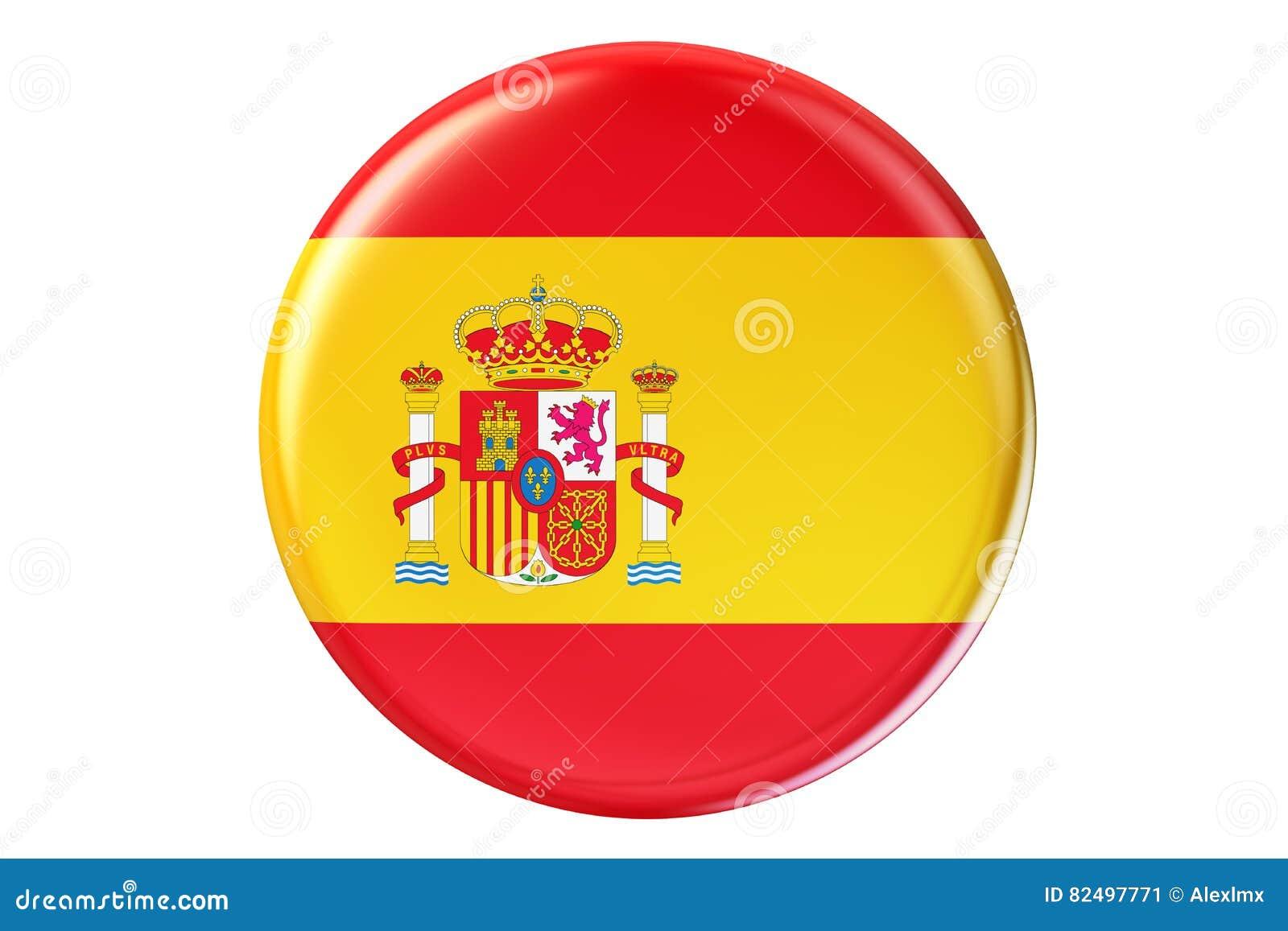 Förse med märke med flaggan av Spanien, tolkningen 3D