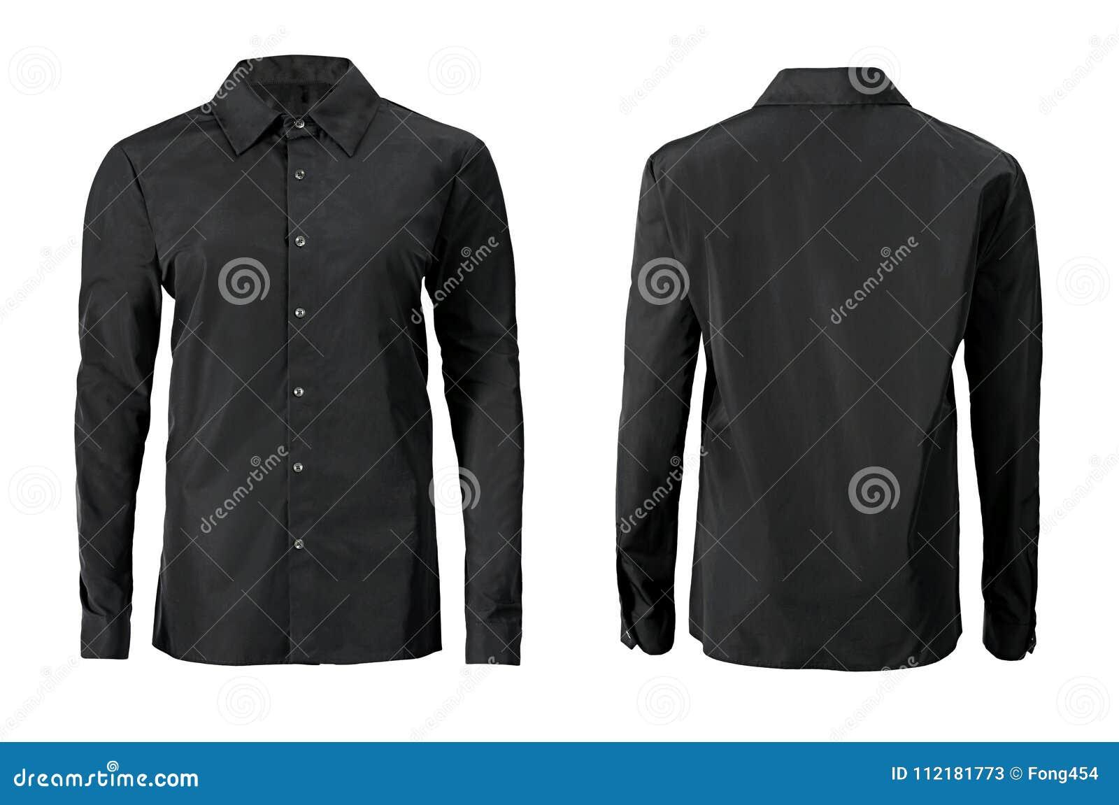 Förser med krage den formella skjortan för svart färg med knappen ner isolerat på whi