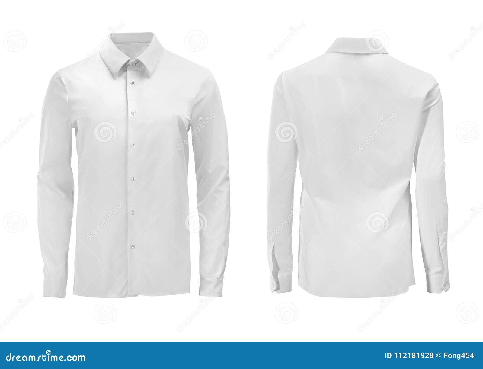 Förser med krage den formella skjortan för vit färg med knappen ner isolerat på whi