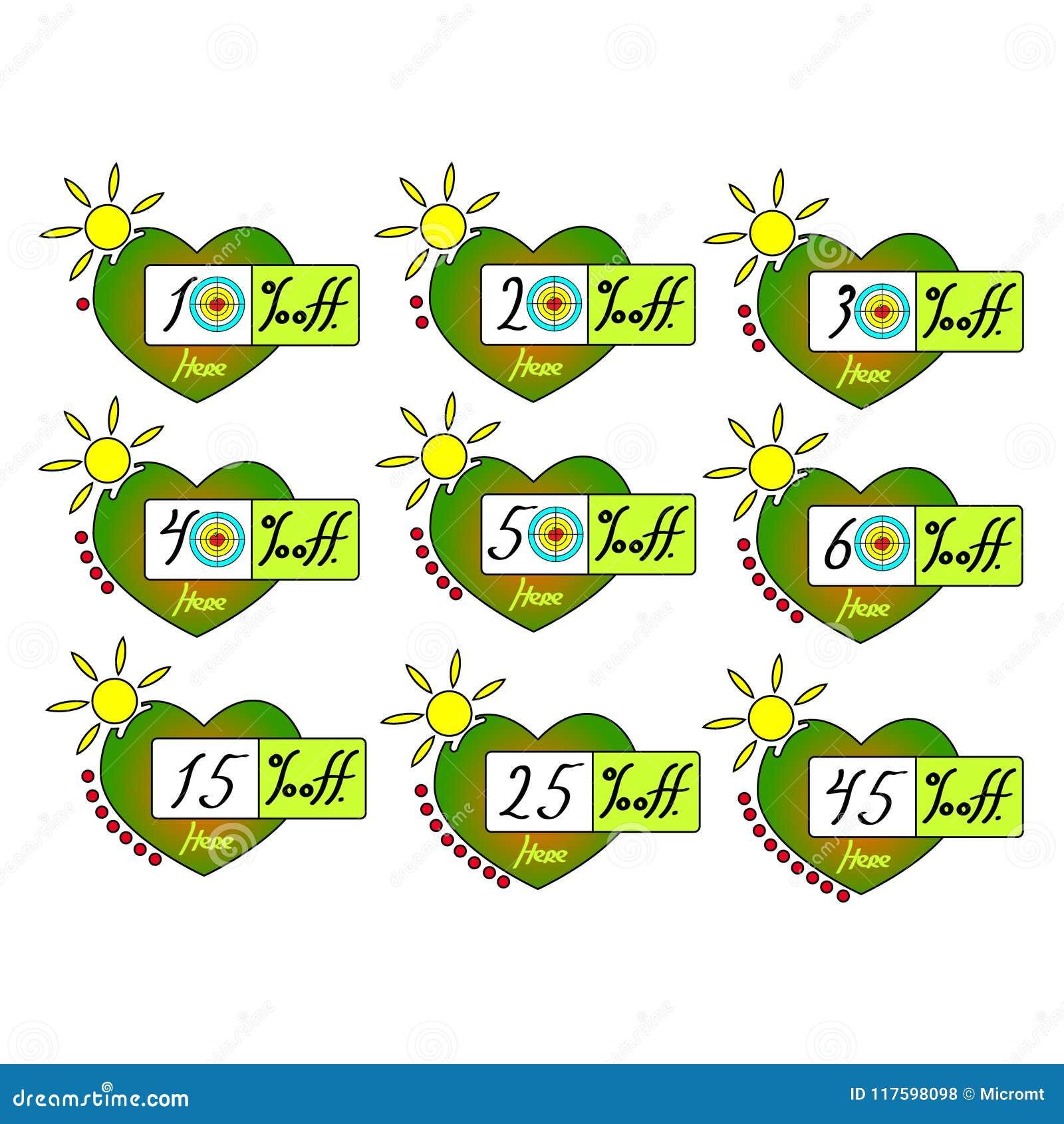 Förser med märke den fastställda vektorn för sommarförsäljningsetiketter av mall, 10, 20, 30, 40, 15, 25, symboler för den 45 pro