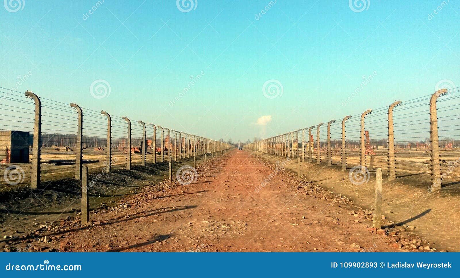 Försett med en hulling - trådkoncentrationsläger Auschwitz Birkenau