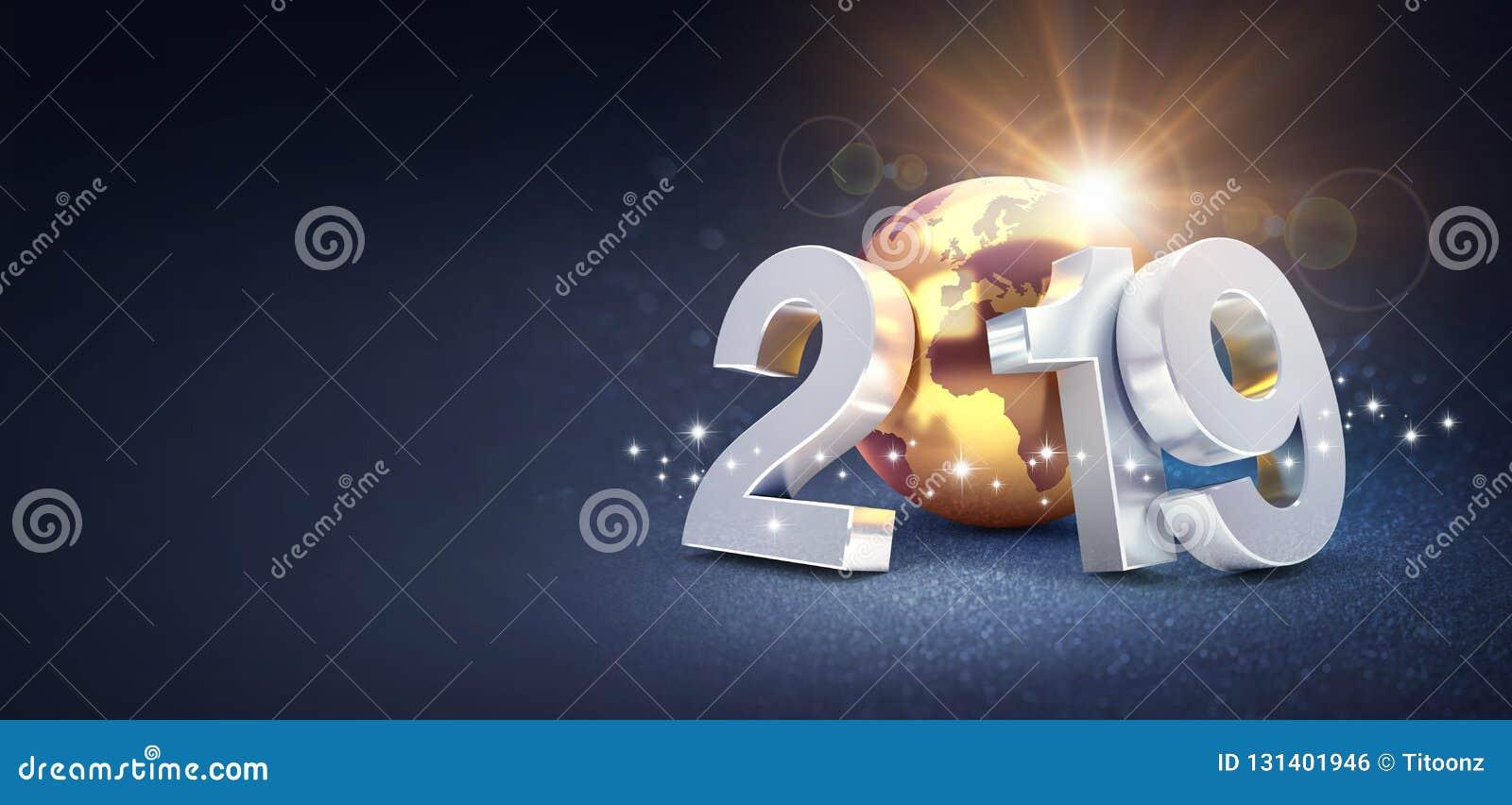 Försilvra datum 2019 som för det nya året komponeras med en guld- planetjord, solen som bakom skiner, på en blänka svart bakgrund