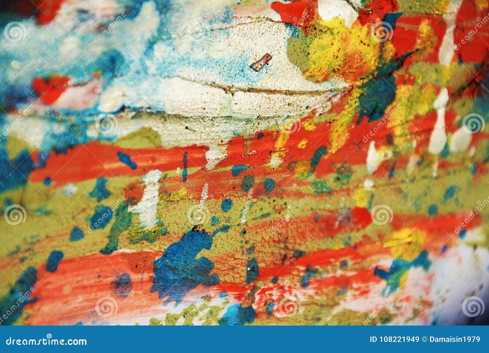 Försilvra grön orange blå röd pastellfärgad vaxartad fläckbakgrund och borsta slaglängder, toner, fläckar