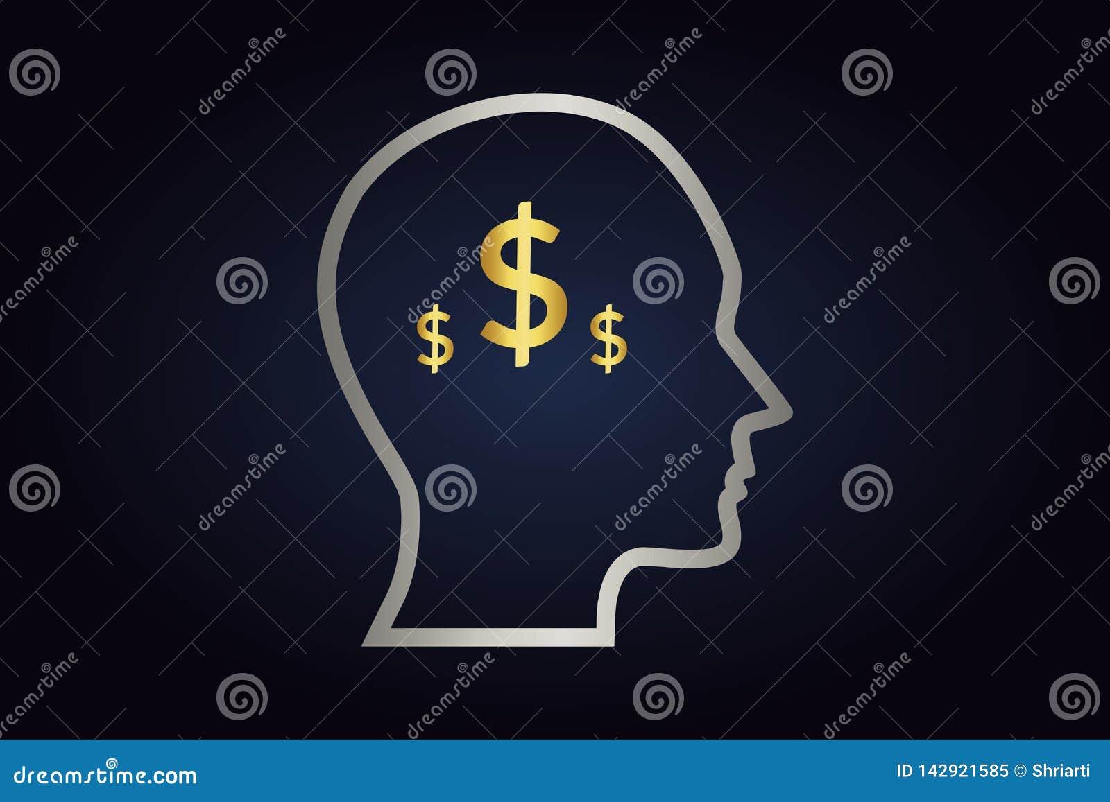 Försilvra konturn av huvudet med guld- dollar inom