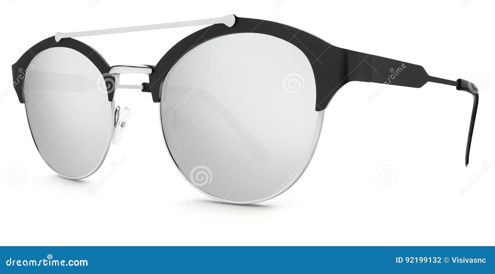 Försilvra och svärta argent spegellinser för solglasögon på whi