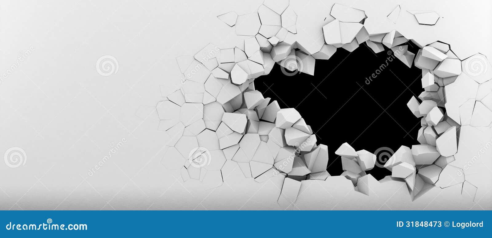 Förstörelse av en vit vägg
