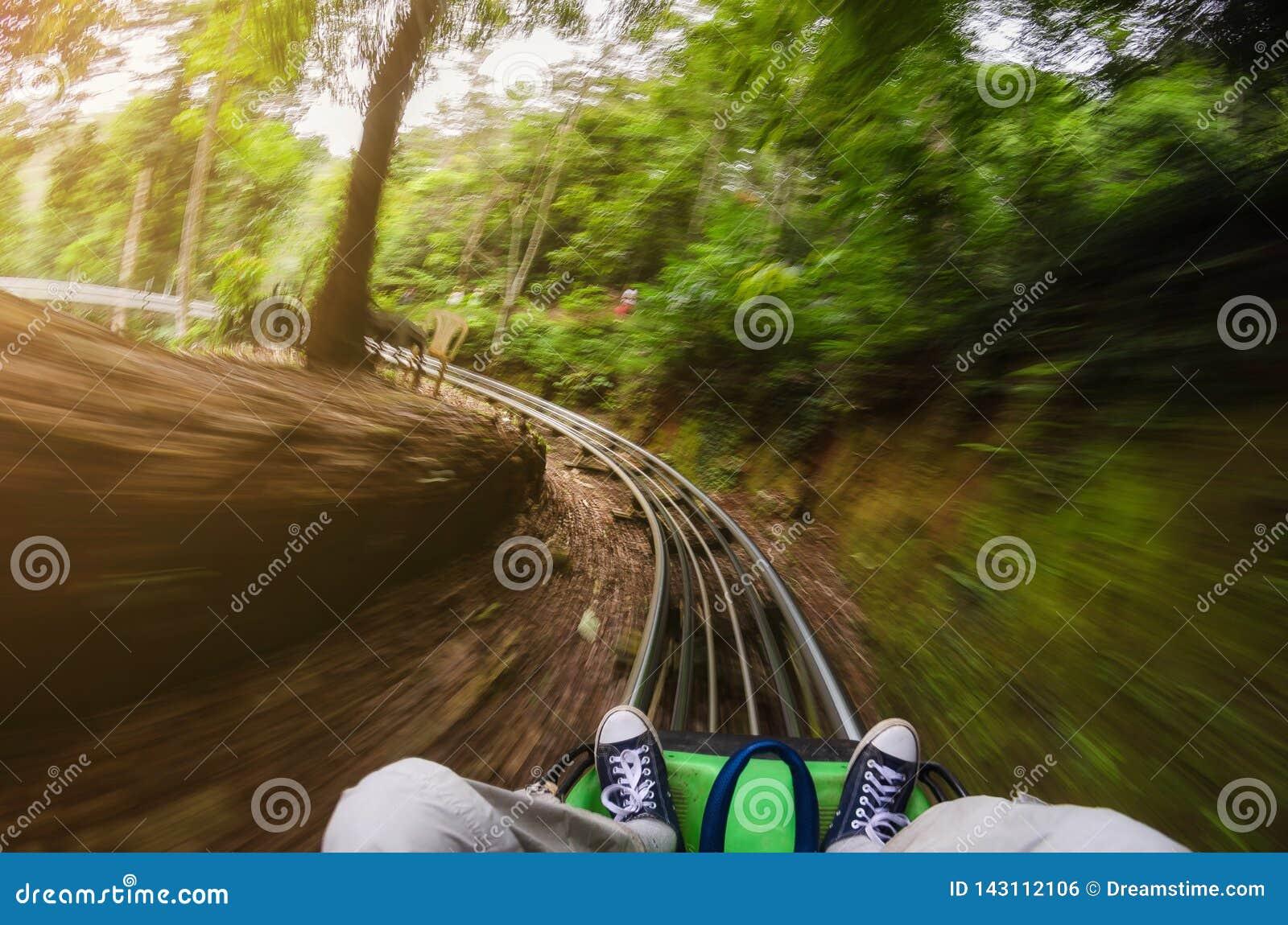 Första personsikt av en man som rider en rollercoastervagn i djungler suddighet rörelse