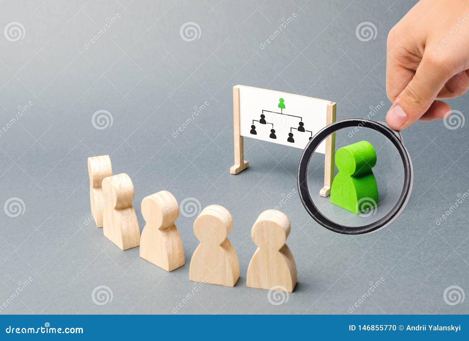 Förstoringsglaset ser ledaren, och hans presentation, anställda står i rad på förhandsmöten hierarki