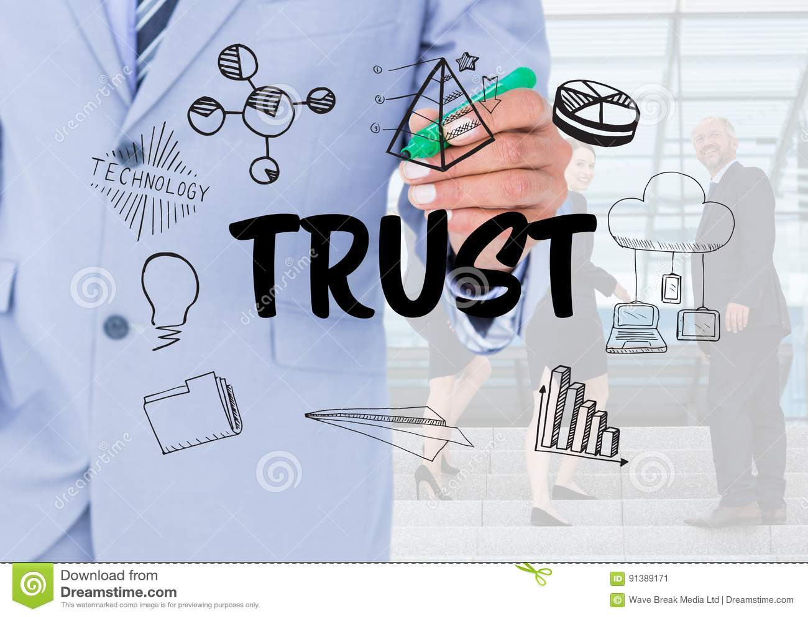 Förtroendediagram med bakgrund för affärsfolk