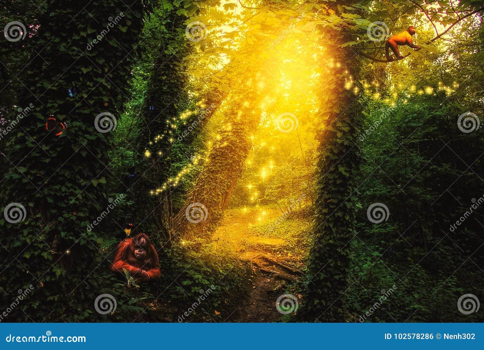 Förtrollad skog med en bana, djur, fjärilar och mousserande ljus